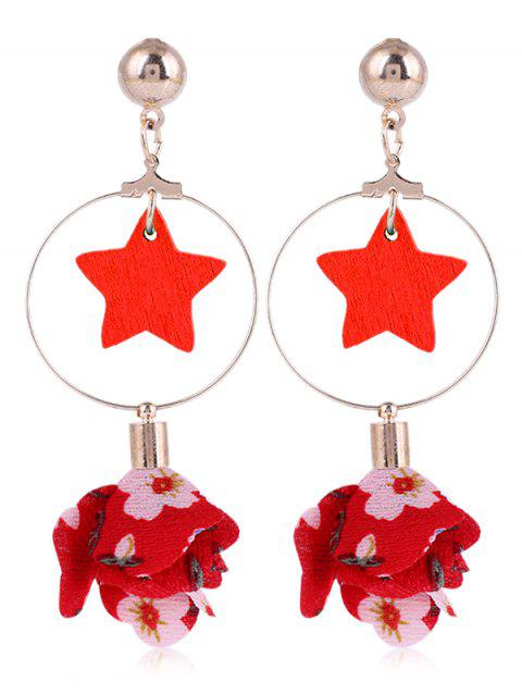 Wooden Star Circle Floral Drop Earrings - LAVA RED