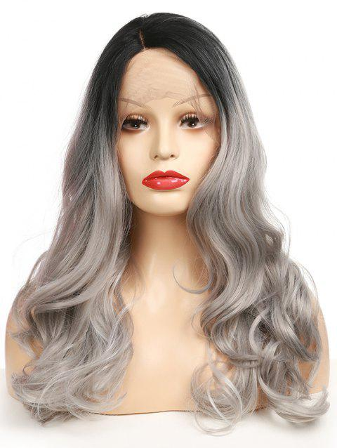 Long Side Parting Gradient Wavy Lace Front Synthetic Wig - multicolor