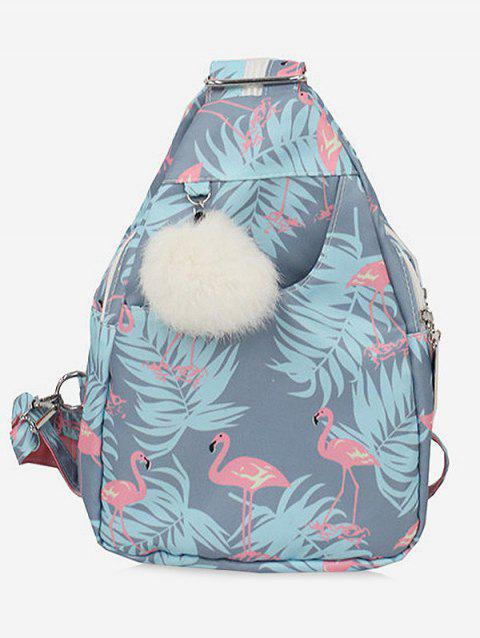 Chic Flamingo Print Pompom Backpack - BABY BLUE