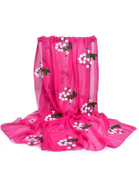 Soft Floral Embroidery Silky Shawl Scarf - ROSE RED