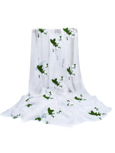 Soft Floral Embroidery Silky Shawl Scarf - WHITE