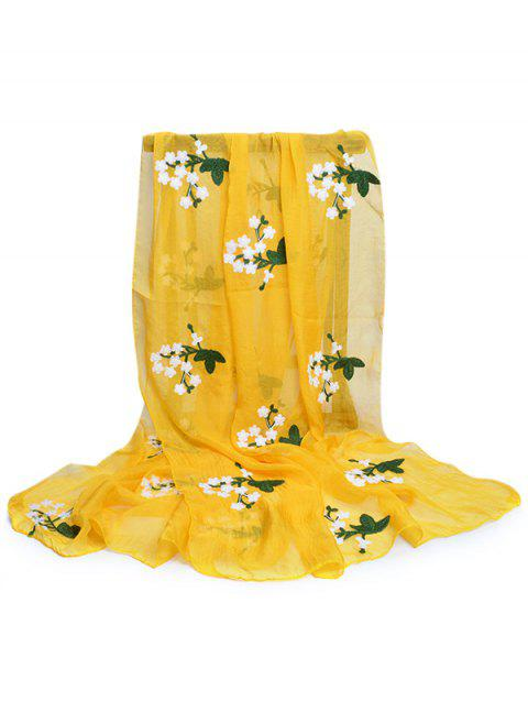 Soft Floral Embroidery Silky Shawl Scarf - MUSTARD