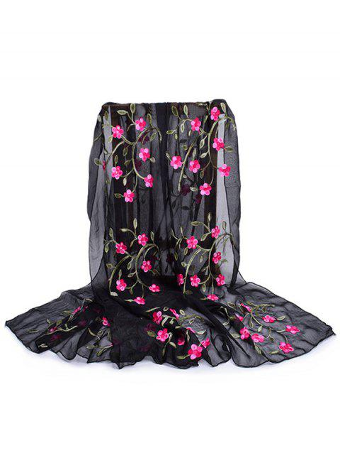 Vintage Flower Embroidery Silky Long Scarf - BLACK