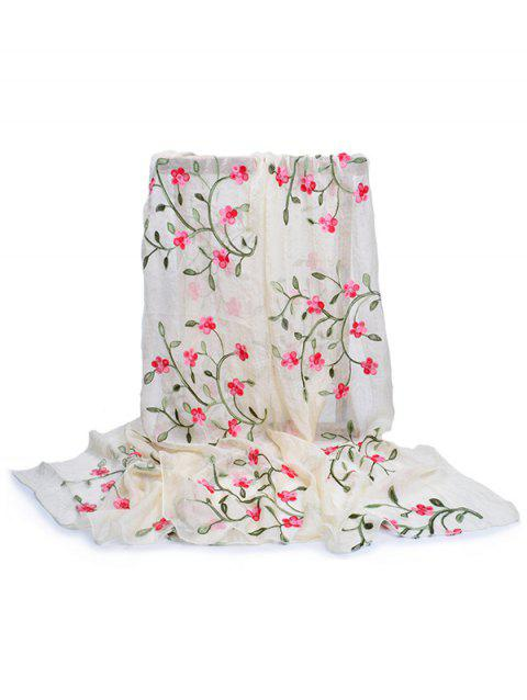 Vintage Flower Embroidery Silky Long Scarf - BEIGE