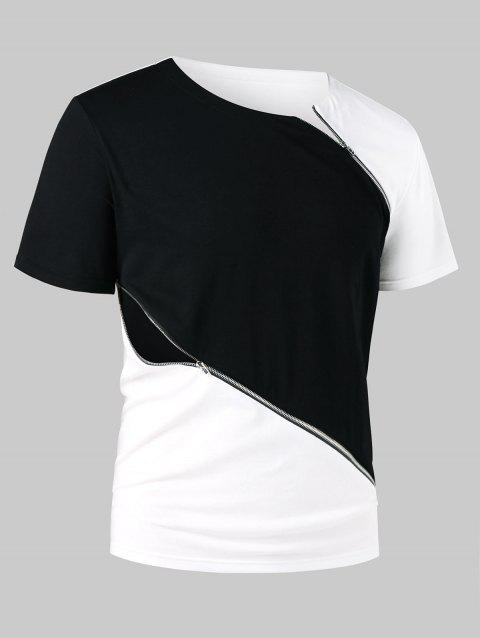 Zipper Embellished Color Block Casual Tee - WHITE L