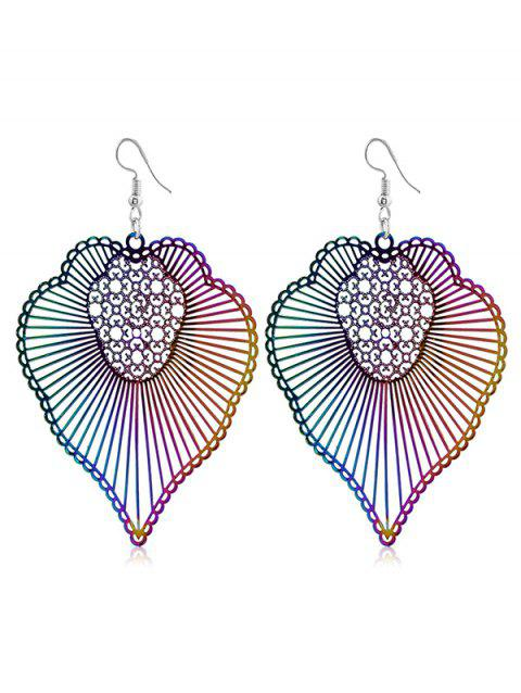 Pair of Boho Striped Pattern Hook Earrings - multicolor