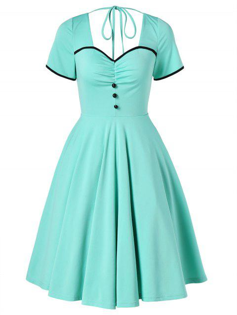 Retro Ruched Cut Out Pin Up Dress - MINT GREEN M