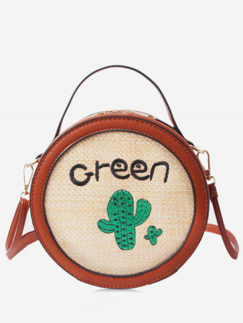 Round Shaped Patchwork Embroidery Handbag - BROWN