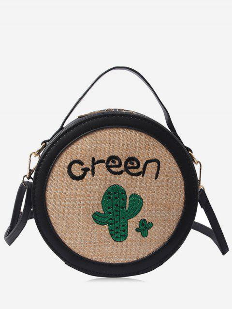 Round Shaped Patchwork Embroidery Handbag - BLACK