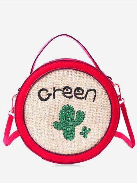 Round Shaped Patchwork Embroidery Handbag - RED