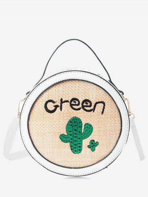 Round Shaped Patchwork Embroidery Handbag - WHITE
