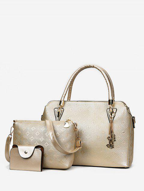 Embossed PU Leather Casual 3 Pieces Tote Bag Set - GOLD