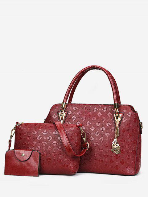 Embossed PU Leather Casual 3 Pieces Tote Bag Set - CHESTNUT RED