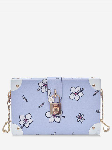 Floral Print Box Shaped Crossbody Bag with Lock - BLUE GRAY