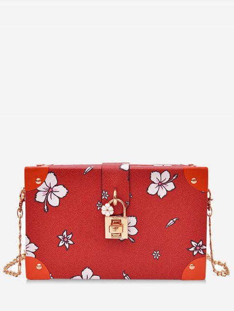 Floral Print Box Shaped Crossbody Bag with Lock - RED