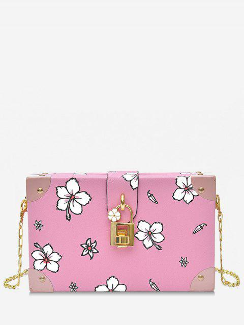 Floral Print Box Shaped Crossbody Bag with Lock - PINK