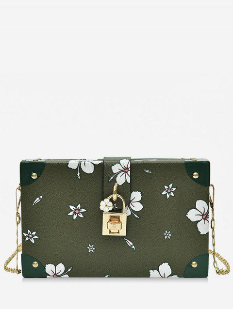 Floral Print Box Shaped Crossbody Bag with Lock - ARMY GREEN