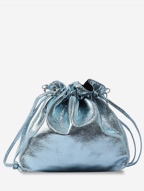 Metal Chain Solid Daily String Sling Bag - BLUE KOI