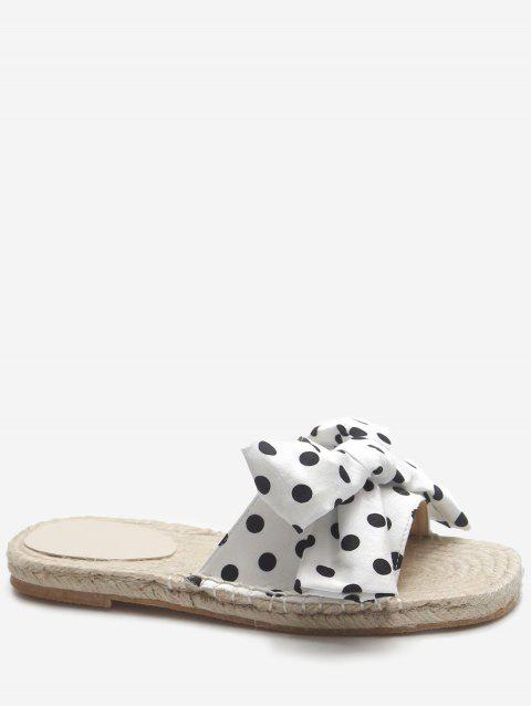 Color Block Bow Flat Heel Polka Dot Slides - WHITE 36