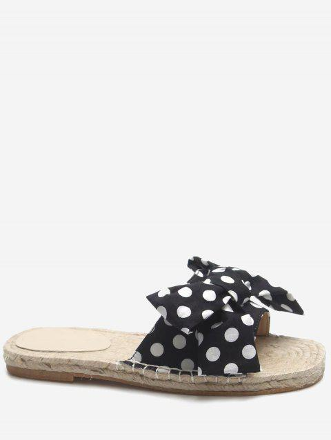 Color Block Bow Flat Heel Polka Dot Slides - BLACK 39