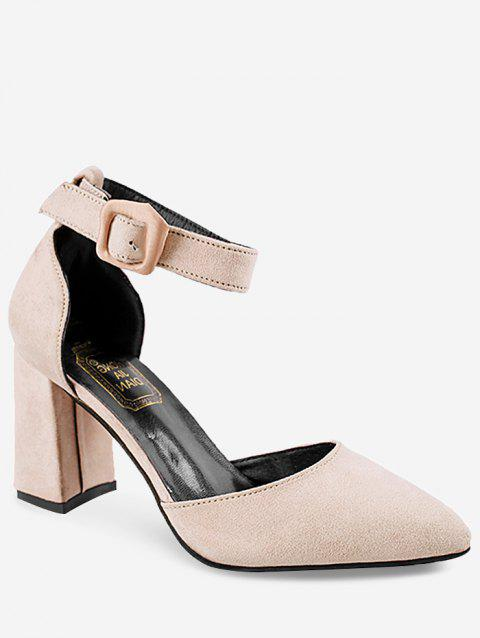 High Heel Pointed Toe Chic Ankle Strap Pumps - BEIGE 36