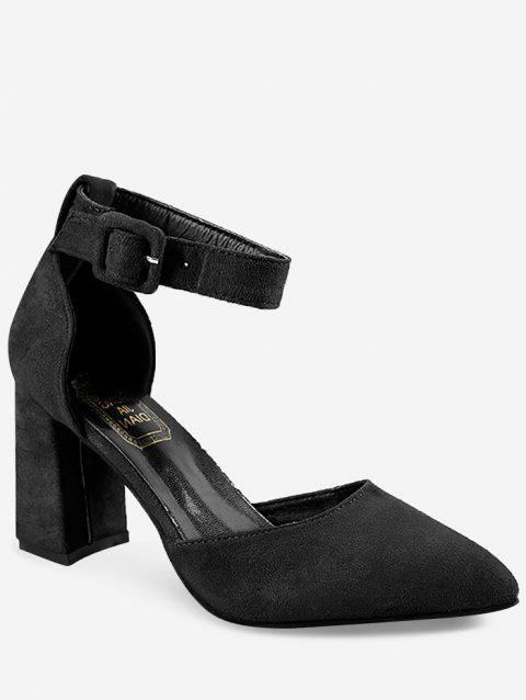 High Heel Pointed Toe Chic Ankle Strap Pumps - BLACK 36