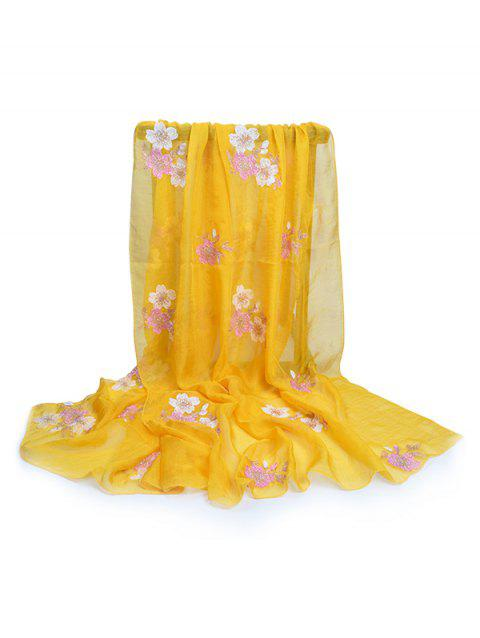 Fresh Floral Embellished Silky Long Scarf - SUN YELLOW