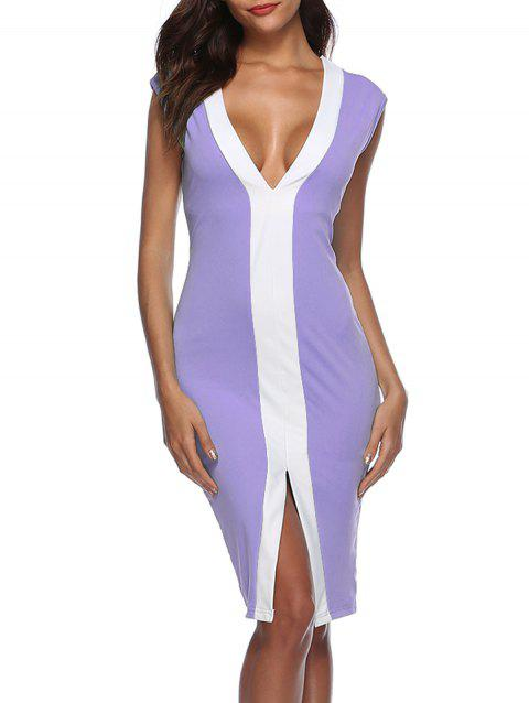 Front Slit Color Block Bodycon Dress - PURPLE M