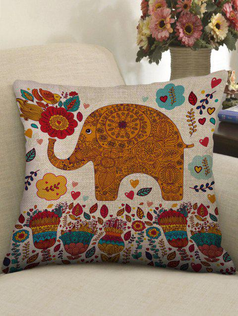 Mandala Elephant Flowers Print Linen Sofa Pillowcase - multicolor W18 INCH * L18 INCH