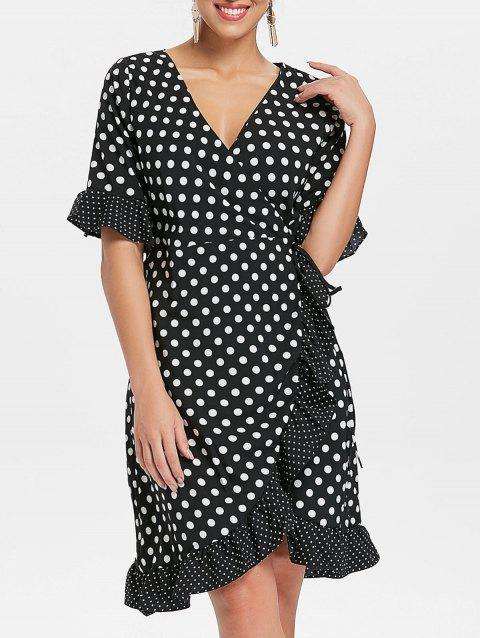 Ruffle Dotted Midi Wrap Dress - BLACK XL