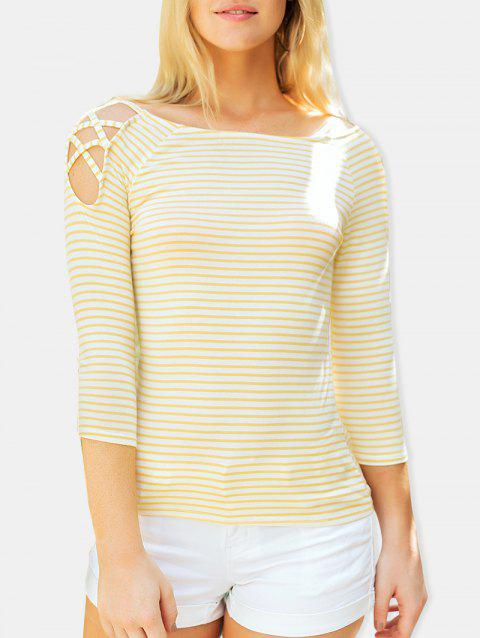 Stripe Cold Shoulder Casual Tee - YELLOW L