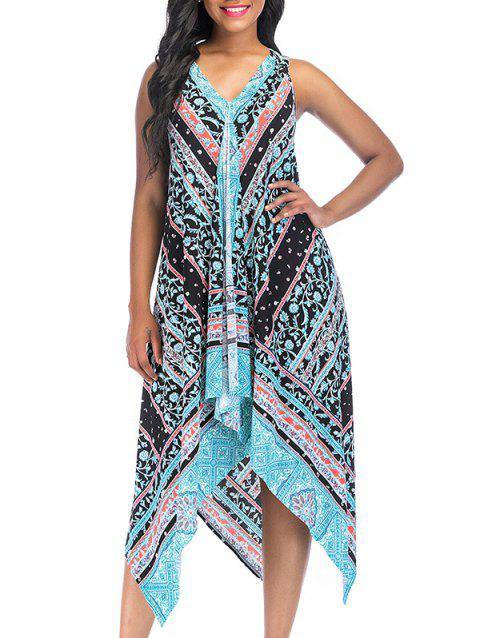 Vintage Printed Asymmetric Sleeveless Summer Dress - LIGHT SKY BLUE M