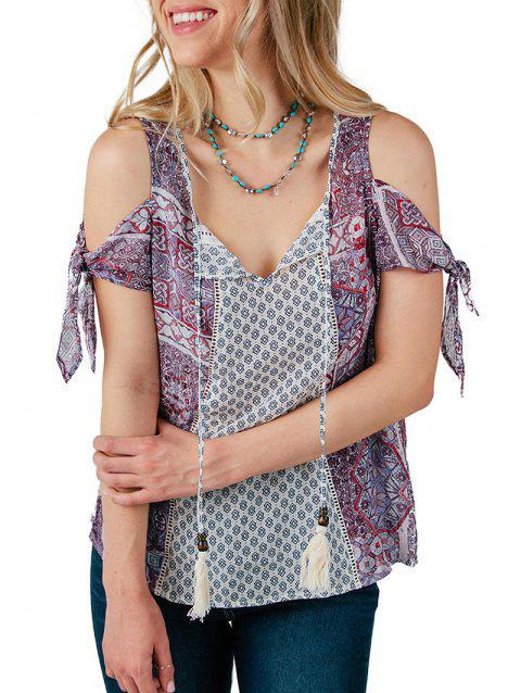 Bow Tie Sleeve Printed Blouse - multicolor A S