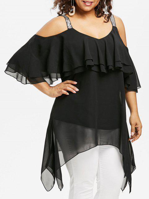Plus Size Sequins Ruffle Asymmetric Blouse - BLACK L