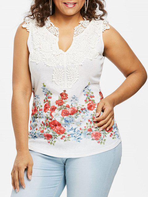 Plus Size Floral Guipure Panel Tank Top - WHITE L