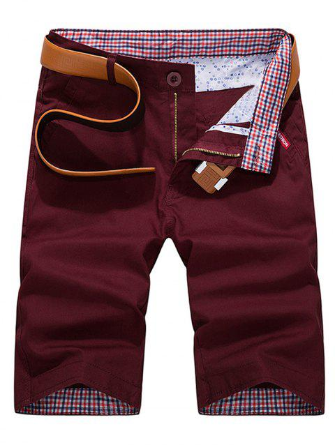 Zipper Fly Check Print Panel Bermuda Shorts - RED WINE M