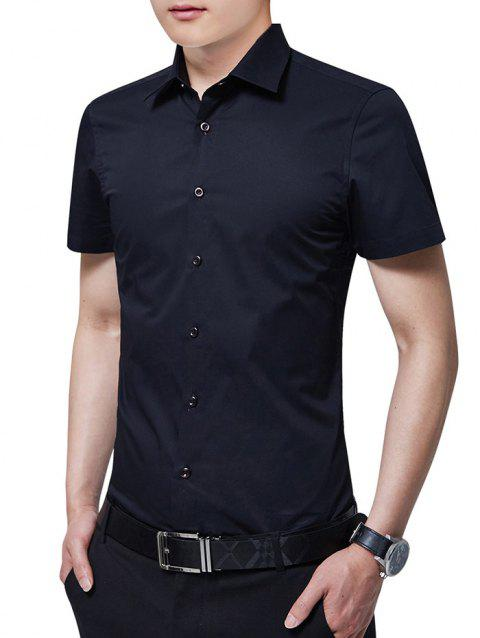 Slim Fit Solid Color Button Up Business Shirt - BLACK XL