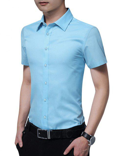Solid Color Button Up Slim Fit Shirt - LIGHT BLUE 2XL