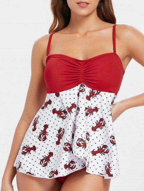 Crayfish Polka Dot Print Tankini Set - FIRE ENGINE RED XL