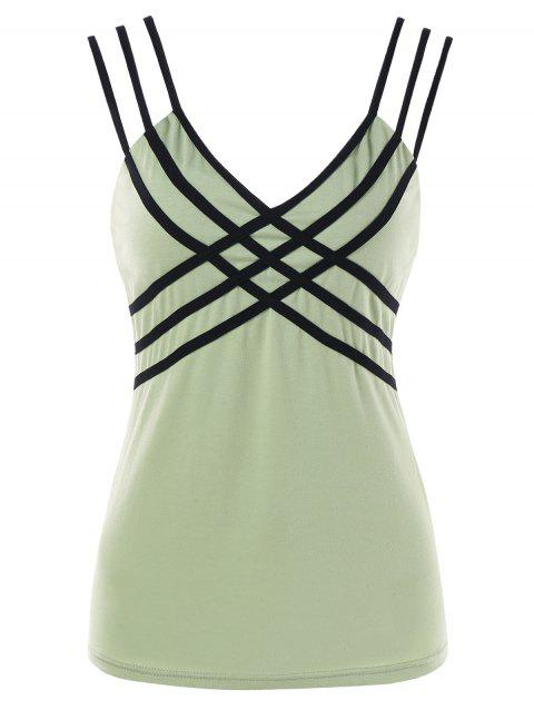 Strappy Criss Cross Tank Top - FROG GREEN L