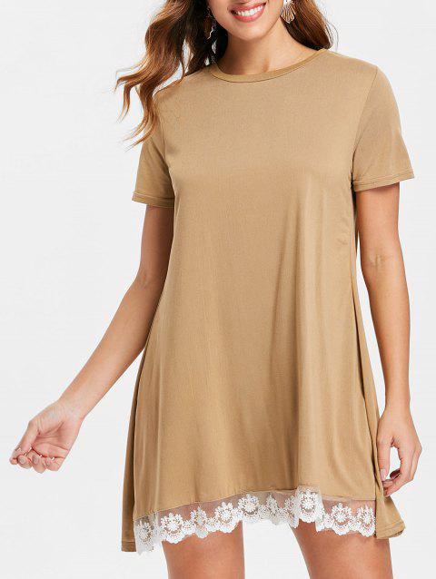 Lace Panel Shift Dress - COFFEE XL