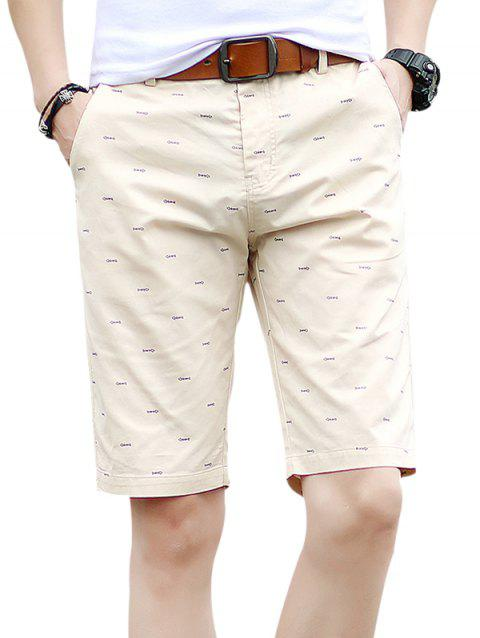Fishbone Print Zipper Fly Casual Shorts - LIGHT KHAKI XL
