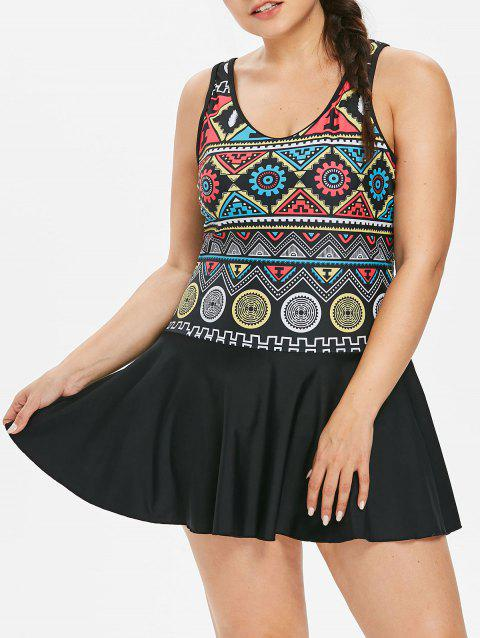 Ethnic Plus Size One Piece Swimsuit - BLACK 3X