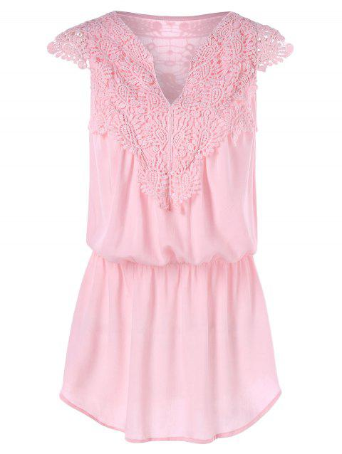 Lace Insert Tank Top with Elastic Waist - LIGHT PINK 2XL