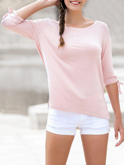 Round Neck Bow Tie Sleeves Tee - PINK BUBBLEGUM L