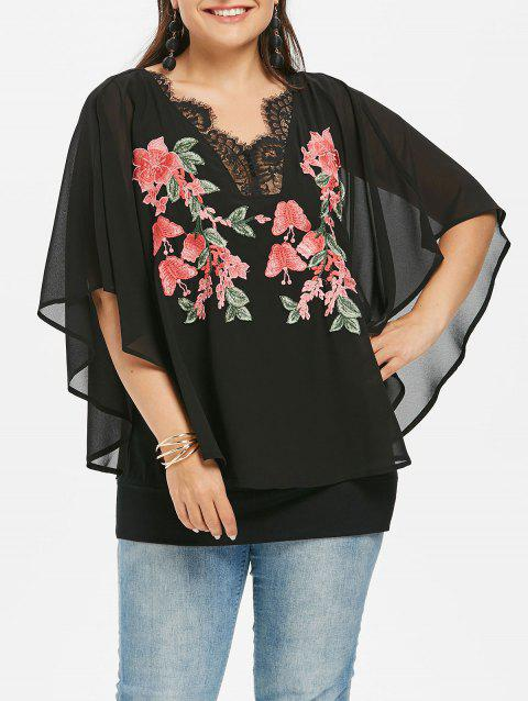 Plus Size Scalloped Lace Trim Overlay Blouse - BLACK 2X