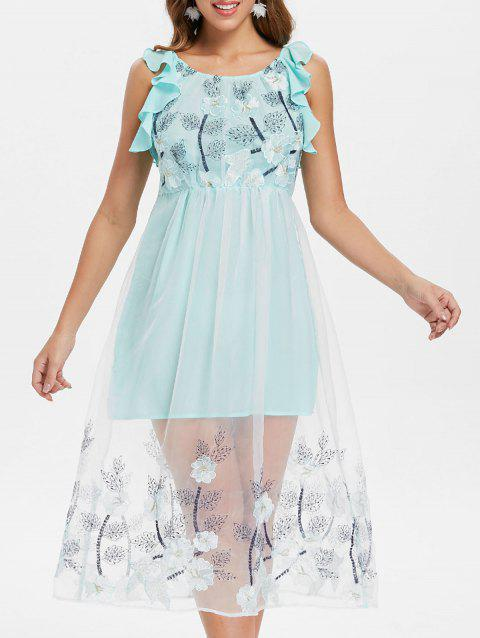 Mesh Panel Floral Embroidered Midi Dress - BABY BLUE XL
