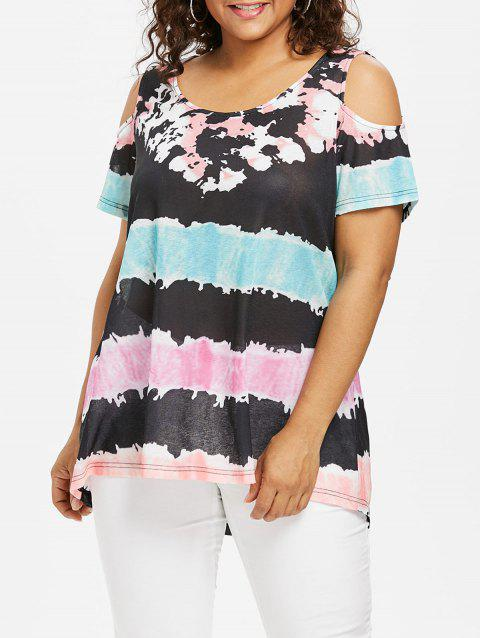 Color Block Plus Size T-shirt - multicolor 4X