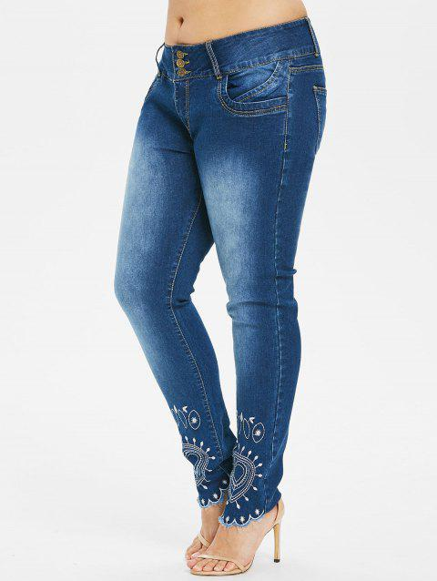 Plus Size Faded Embroidery Jeans - DENIM DARK BLUE 1X