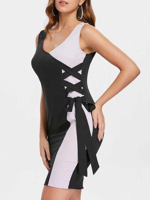 Criss Cross Color Block Bodycon Dress - BLACK XL